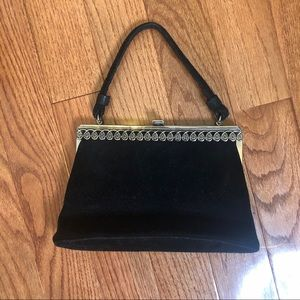 Handbags - Vintage Style Black Velvet Purse w/Silver detail